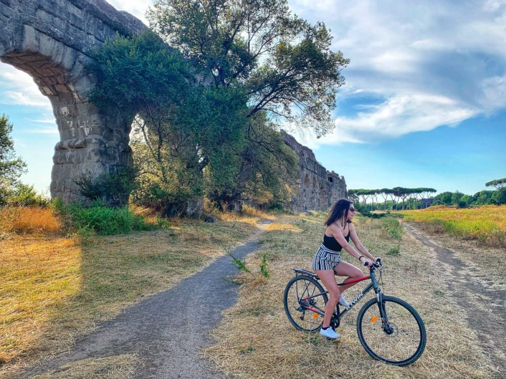 Things to do in Rome in summer. Bike ride along Ancient Appian Way. Bike ride at Parco degli Acquedotti